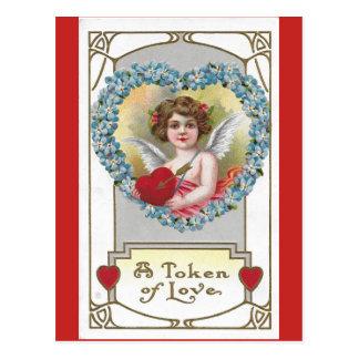 Carte Postale Ange 1910 de fille de cru avec le coeur bleu de