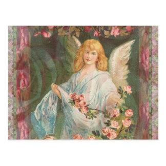 Carte Postale Ange avec des roses