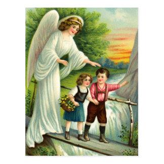 Carte Postale Ange gardien, enfants et pont