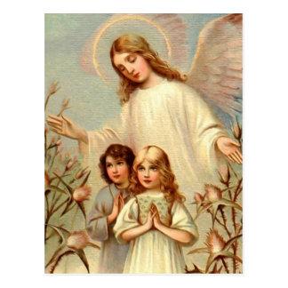 Carte Postale Ange gardien et enfants priant et chardon