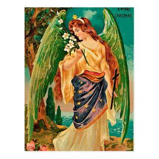 Carte Postale Ange tenant une branche florale