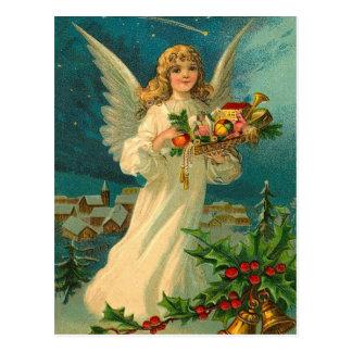 Carte Postale Ange vintage de Noël avec des jouets