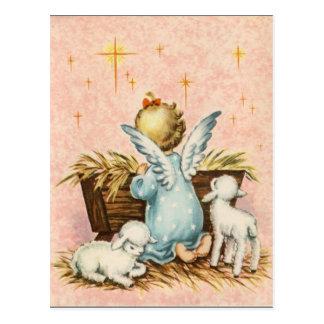 Carte Postale Ange vintage et agneaux de Noël