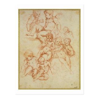 Carte Postale Anges, début du 17ème siècle (craie rouge sur le