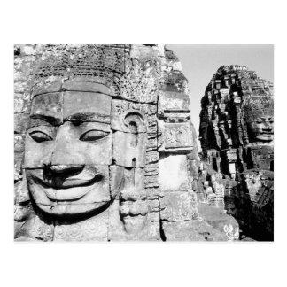 Carte Postale Angkor Cambodge, têtes le Bayon
