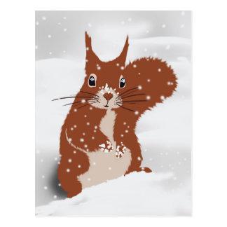 Carte Postale Animal mignon de flocons de neige de neige d'hiver