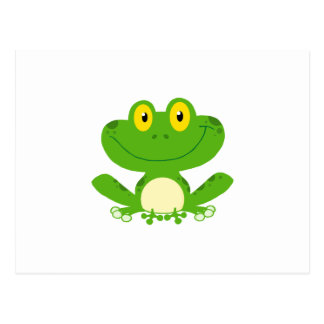Carte Postale Animal mignon vert amphibie de bande dessinée de