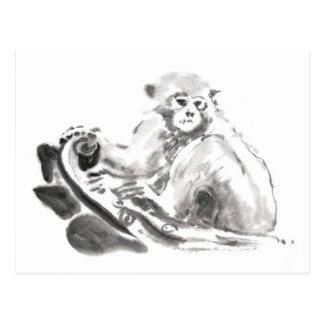 Carte Postale Année chinoise 2016 de singe de peinture originale