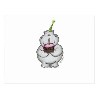 Carte Postale Anniversaire d'hippopotame - joyeux anniversaire