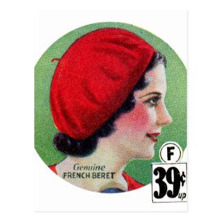 Carte Postale Annonce française rouge de béret de rétro mode