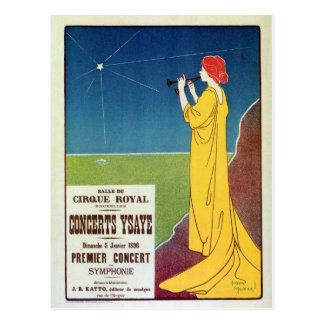 Carte Postale Annonce vintage de Bruxelles de concert de musique