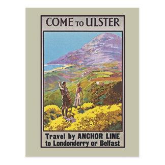 Carte Postale Annonce vintage de voyage de bateau de l'Irlande