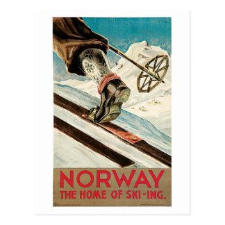 Carte Postale Annonce vintage de voyage de ski de la Norvège des