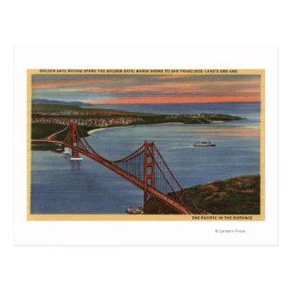 Carte Postale Antenne de golden gate bridge et de région de baie