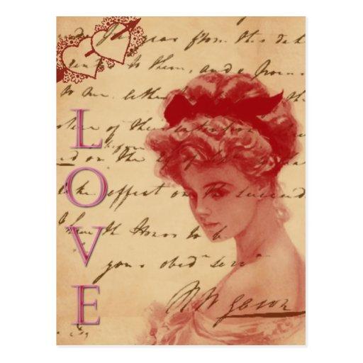 Carte postale antique de lettre d 39 amour zazzle - Carte d amour ...