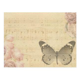 Carte postale antique de papillon