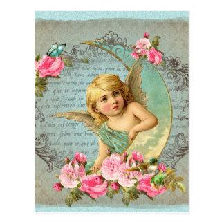Carte Postale Antiquité bleue vintage de rose rose d'ange