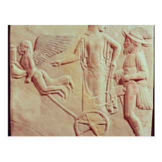 Carte Postale Aphrodite et Hermes montant sur un char