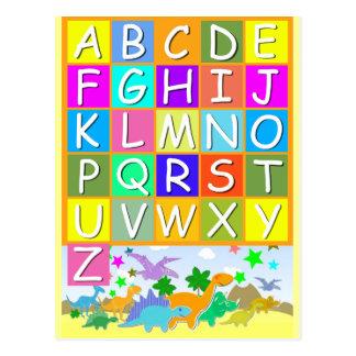 Carte Postale Apprenez votre ABC avec l'alphabet de dinosaures