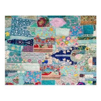 Carte Postale Aqua et conception bleue de tapisserie d'édredon