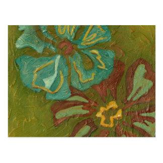 Carte Postale Aqua et fleurs oranges brûlées sur l'arrière -