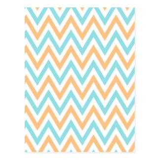 Carte Postale Aqua- peach, Chevron Zigzag