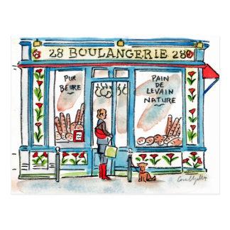 Carte Postale Aquarelle de BOULANGERIE 28 Paris