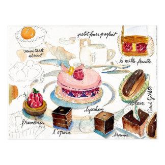 Carte Postale Aquarelle de croquis de pâtisserie de Paris