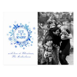 Carte Postale Aquarelle de Noël | - laissez-la neiger des
