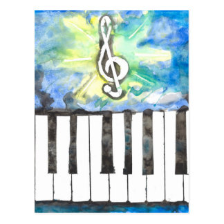 Carte Postale Aquarelle de piano