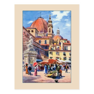 Carte Postale Aquarelle Florence Piazza San Lorenzo