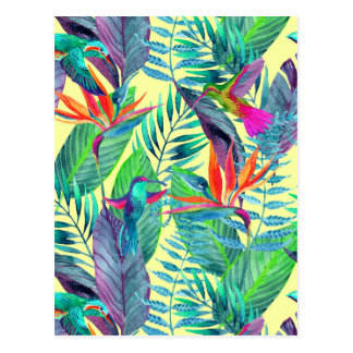Carte Postale Aquarelle Humminbirds dans la jungle 2