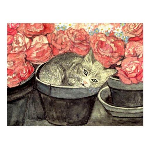 Carte postale aquarelle «Kätzchen dans le pot de