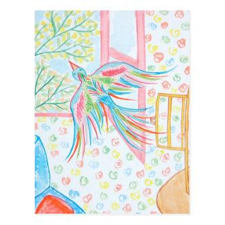 """Carte Postale Aquarelle """"ouvrez la cage aux oiseaux"""""""
