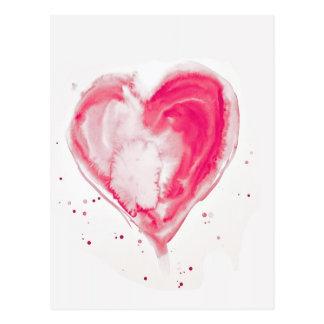 Carte Postale Aquarelle rose de coeur