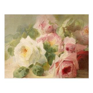 Carte Postale Aquarelle rose victorienne vintage