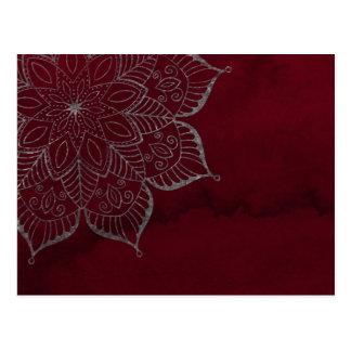 Carte Postale Aquarelle rouge et gris/mandala scintillement
