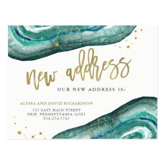 Carte Postale Aquarelle Teal et adresse de Geode   d'or nouvelle