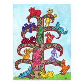 Carte Postale Arbre de chat de Paisley de la vie