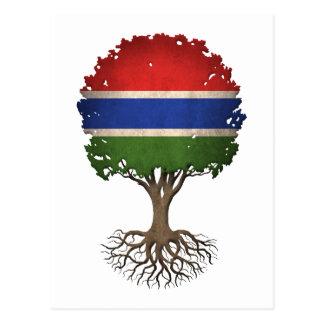 Carte Postale Arbre de drapeau de la vie gambien personnalisable