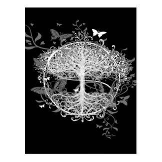 Carte Postale Arbre de la vie dans le blanc avec des papillons