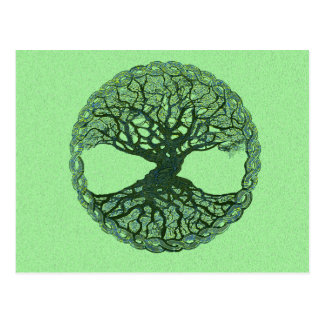 Carte Postale Arbre de la vie vert chanceux