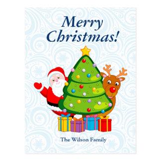 Carte Postale Arbre de Noël d'amusement avec le père noël et