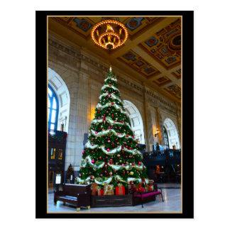Carte Postale Arbre de Noël de station des syndicats, Kansas