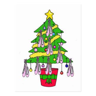 Carte Postale Arbre de Noël décoré des chaussures de ballet