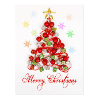 Carte Postale Arbre de Noël fait à partir des décorations