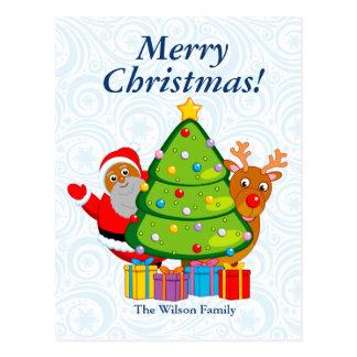 Carte Postale Arbre de Noël noir avec le père noël et Rudolph,