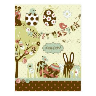 Carte Postale Arbre de Pâques et une corde à linge avec des