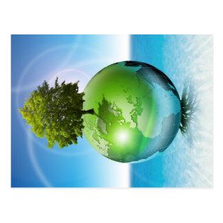 Carte Postale Arbre du monde - concept d'écologie