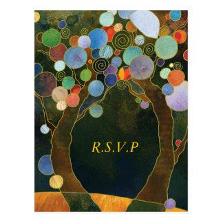 Carte Postale Arbres d'amour RSVP l'épousant élégant bleu